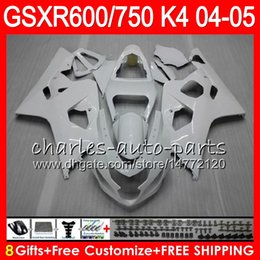 8 Gifts 23 Colors Body For SUZUKI GSX-R600 GSXR750 GSXR600 04 05 gloss white 9HM28 GSX R600 R750 K4 GSX-R750 GSXR 600 750 2004 2005 Fairing