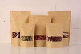 kraft doypack 2019 - 100Pcs Food Moisture-proof Bags,Window Bags Brown Kraft Paper Doypack Pouch Ziplock Packaging for snack,Cookies 15.5*24c