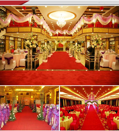Discount wedding photo shots - Luxury Wedding Centerpieces Red velvet Carpet Aisle Runner 1M wide For Wedding Party Decoration Supplies Shooting Prop f