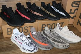 NEW kanye west men's shoes SPLY - 350 V2 Boost cblack red zebra triple white running shoes boost Sneakers (Keychain+Socks+Bag+Receipt+Boxes)