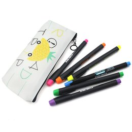 Chinese  6P Marker pen+Bag Random Lovely Candy Color Silicone Waterproof Girls Pencil Case Stationery Storage Organizer Bag School Office manufacturers