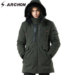 Discount tactical army hat - S.ARCHON Thick Warm Winter Jacket Men Tactical Detachable Hat High Collar Jackets Outerwear coat Fluff Lining Coats Park