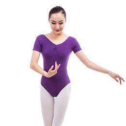 Discount zebra dance leotards - Girls Leotard Backless Short Sleeve Gymnastics Leotards Dancewear Adult Spandex Cotton 9 Color Ballet Leotard for Women