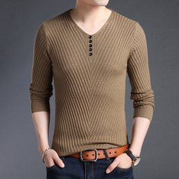 mens autumn sweater 2019 - 2018 New Fashion Brand Sweater For Mens  Pullovers V Neck Slim ae39a8167