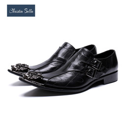 classic british shoes 2019 - Christia Bella British Style Classic Men Genuine Leather Dress Shoes Metal Pointed Toe Business Shoes Black Wedding Brog
