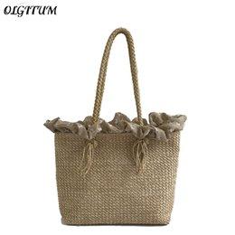 Discount soft weave beach bag - New Handmade Woven Straw Bag Big Capacity Luxury Handbag For Women Ruffled Splice Design Shoulder Bag Boho Retro Beach T