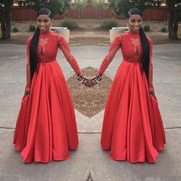 Discount red carpet short princess dresses - 2018 Sexy Plus Size Red Formal Prom Dress Ball Gowns Black Girl V-neck Lace Stain Puffy Skirt Princess Long Sleeves Even