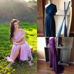 purple evening maxi skirt 2019 - 2018 Hot Cheap Bridesmaid Dresses One Shoulder Skirt Tulip Prom Dresses Bridesmaid Maxi Skirt Evening Party Gowns Custom