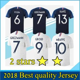 Discount world cup soccer shirts - 2 stars Fr Mbappe Soccer jerseys POGBA GRIEZMANN PAYET KANTE Football t shirts 2018 19 world cup Champion Maillot de foo