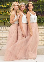 purple evening maxi skirt 2019 - 2018 Hot Cheap V Neck Two Pieces Bridesmaid Dresses Sleeveless Tulle Skirt Blush Prom Dresses Maxi Skirt Evening Party G
