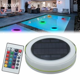 Discount floating swimming pool lighting - ZINUO Waterproof solar RGB Pond Swimming Pool Floating lamp with remote controller Lawn Garden Landscape For Swimming li