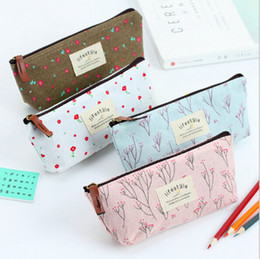 Pink linens online shopping - Countryside Flower Floral Pencil Pen Case Cosmetic Makeup Bag Cute Small Cosmetic Purse Wash Bags Colors