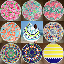 Discount beach blankets wholesale - Round Beach Towel Mat Polyester Yoga Blanket Mat Bikini Outdoor Sports Swimming Bath Towel Shawl Wrap Pad Picnic Blanket
