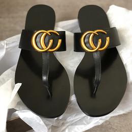 Summer SlipperS for women online shopping - Women Designer Sandals real Leather Slippers flip flops Metal chains Summer slipper style shoes for women
