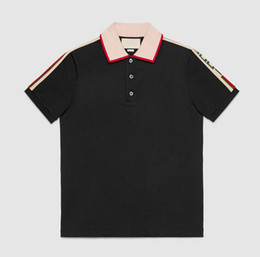 Wholesale Luxury brand designer polos men casual polo t shirt snake bee floral embroidery strip polos High street fashion classic polo shirts