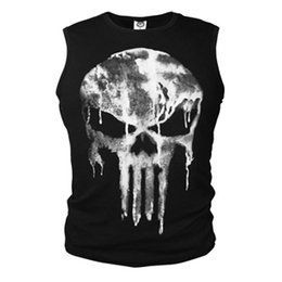Discount 3xl cosplay costumes - Punisher Slim Elastic Compression T-Shirt Cosplay Costume Tops Tees Ghost Shirt Skull Sleeveless Vest S-XXXL Men's