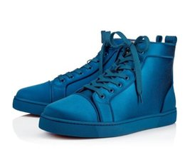 Chinese  2018 Colorful Blue Men Sneakers Red Bottom Shoes High Top Luxury Designer Classic Louspiked Orlato Men's Flat Wedding Party Dress 35-46 manufacturers