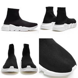 Red lace up boots online shopping - 2018 Speed Trainer Boots Socks Stretch Knit High Top Trainer Shoes Running Sneaker Black White Woman Man Sport Shoes
