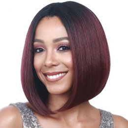 burgundy human hair straight 2019 - Short Bob Wigs For Black Women Remy Brazilian Lace Front Human Hair Wigs Ombre 1b 99j Burgundy With Baby Hair cheap burg