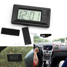 Discount universal digital car dash - Wholesale-New Universal Black Digital Clock For Car-Truck-Bike-Scooter Interior Dash Drop shipping