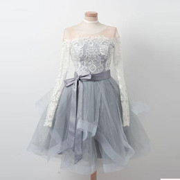 China 2018 Long Sleeve Sheer Neck Short Party Dresses Lace Top Tulle Homecoming Piping Ribbons Dress Zipper Back Cocktail Dresses cheap cap sleeve sheer top long dresses suppliers