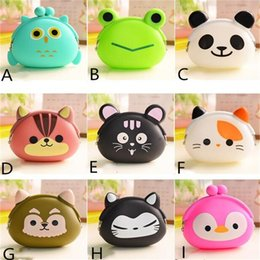 Discount silicone animal coin purses - Silicone Coin Purse Kawaii Candy Color Cartoon Animal Wallet Cute Mini Jelly Key Bag Children Kids Multifunction Purses