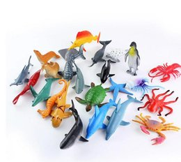 whales toys 2019 - 24pcs set Child toys Small gifts Gifts Marine animal model toy penguin Great white shark turtle whale model small orname
