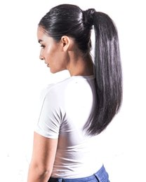 wrap around pony 2019 - wrap around clip in pony tails human hair 1b remy long hair straight ponytail hairpiece 100% human hair horse tail disco