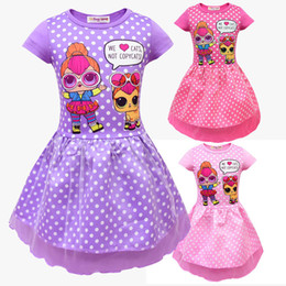 AmericAn girl bAby doll clothes online shopping - Baby girls Dot dress Children doll print princess dress Summer fashion Boutique Kids Clothing colors C5559
