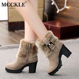 Discount red block shoes - MCCKLE Women Casual Platform Block High Heels Winter Warm Faux Fur Snow Boots Female Suede Buckle Short Ankle Boots Shoe