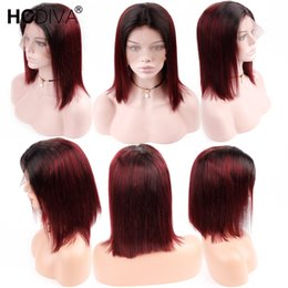 14 inch remy wig online shopping - 1B J Ombre Color x4 Lace Front Human Hair Wigs For Black Women Peruvian Remy Hair Short Bob Wigs Natural Hairline inch HCDIVA Wigs