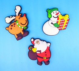 Discount baby boy soft toys - Christmas refrigerator stickers PVC refrigerator stickers toy 3D soft plastic Snowman santa stag stickers for baby boys