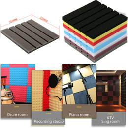 wallpaper panels 2019 - Acoustic Foam DIY Panel Sound Stop Absorption Sponge Studio KTV Soundproof Wall Sticker Home Decor 25x25x2cm Dropshippin
