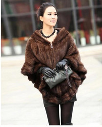 Fashion mink Fur shawl online shopping - Fashion Women Fur Shawl Winter Knitted Real Mink Fur Stole With Fur Hood Knitted Mink Poncho Pashmina