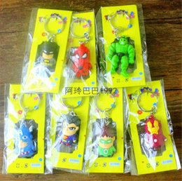 spiderman batman toy avengers 2019 - The Avengers Figures phone Keychain Batman Superman Iron Man Thor Spiderman Captain America PVC Toys PVC Pendants Cartoo
