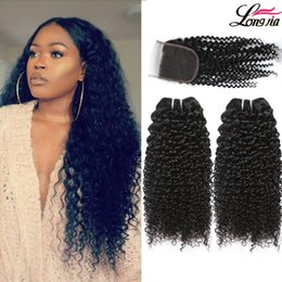 Discount milky way hair - Brazilian Kinky Curly Closure Curly Bundles with 4x4 Lace Closure Brazilian Virgin Human Hair With Closure Unprocessed H