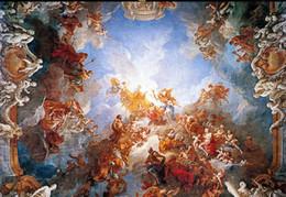 Chinese  custom photo murals Renaissance classical zenith oil painting 3d ceiling Murals wallpaper manufacturers