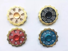 Wholesale alloys Wheels online shopping - Fidget Spinners Flywheel Hand Spinner Aluminum alloy Fire round chain Wheel Finger toy Gyro Decompression Toys in metal tin