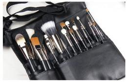 China New Fashion Makeup Brush Holder Stand 22 Pockets Strap Black Belt Waist Bag Salon Makeup Artist Cosmetic Brush Organizer DHL SHIP GOOD supplier open cosmetic bag suppliers