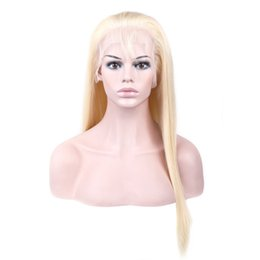 China Full Lace Human Hair Wigs Colorful Wigs for Woman Pre Plucked With Baby Hair Brazilian Remy Hair Wigs Length 10--24 inch 613 Blond cheap 14 inch remy wig suppliers