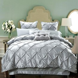 Discount duvets covers - European Style 4pcs Bedding Sets Pure Color Sideric Luxury Duvet Covers Water Washing Silk Quilt Cover Multi Sizes 198cc