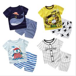Discount cheap branded kids clothes - fashion design baby clothes Cartoon kids t-shirt short suit cheap children's clothing wholesale Summer children&#03