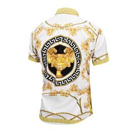 Wholesale snewest Europe fashion Wave of men D Floral Print casual shirt Luxury Harajuku Silk Shirt Long sleeve male Medusa Shirt