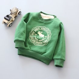 Wholesale BibiCola Infant Boy Girls Sweater Clothes Toddler thick Sweatshirts baby Fawn pattern Casual Kids Plus velvet thick Tops Costume