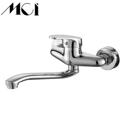 faucet finishes 2019 - Brass Wall Mounted Bathroom Faucet Single Handle Chrome Finish Hot And Cold Kitchen Water Taps Mop pool Sink Mixer Mic-D