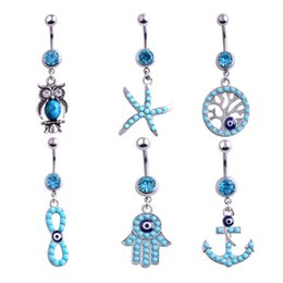 Discount pearl tree life - Sexy Body Piercing Navel Body Jewelry Dangle Flower Heart Tree of Life Crystal Navel Bell Button Rings