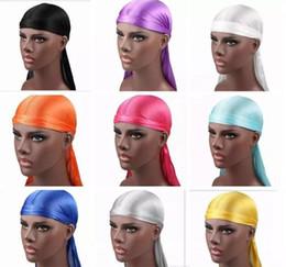 Plain white headbands online shopping - New Fashion Men s Satin Durags Bandana Turban Wigs Men Silky Durag Headwear Headband Pirate Hat Hair Accessories