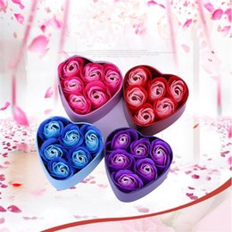 Discount flower shaped decoration rose - Heart-shaped Soap Flower Iron Box Valentines Day Gift Roses Flower Artificial Flowers Of Casamento Wedding Decoration Gi