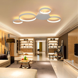 ChoColate bedroom online shopping - Round ring chandelier living room bedroom dining room home AC85 V white modern LED chandelier chandelier lamps
