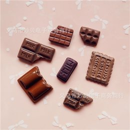 Mobile chocolate online shopping - 3D Simulated Chocolate Sticker Diy Resin Refrigerator Stickers Magnet Mobile Phone Shell Material Package Parts Fridge Office Magnets wl jj